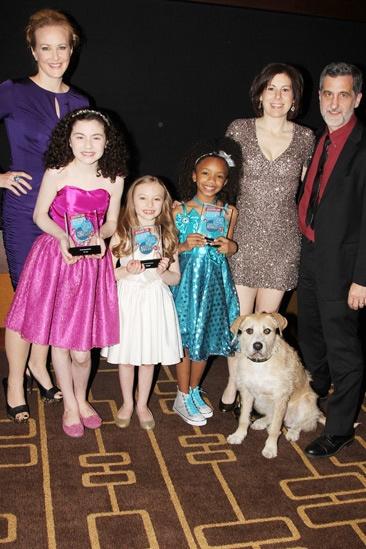 2013 Audience Choice Awards- Katie Finneran- Lilla Crawford- Emily Rosenfeld- Tyrah Skye Odoms- Arielle Tepper Madover – Bill Berloni- Sunny the Dog