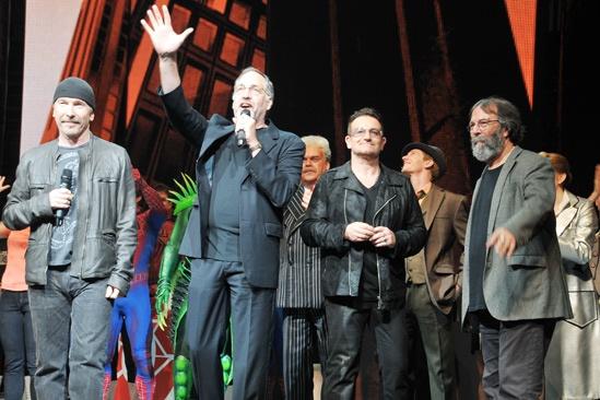 Spider-Man - 1000th Performance - The Edge - Phillip William McKinley - Bono - Michael Cohl