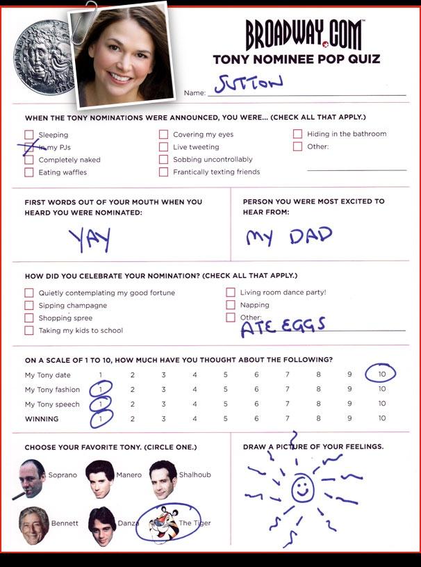 Tony Nominee Pop Quiz - Sutton Foster