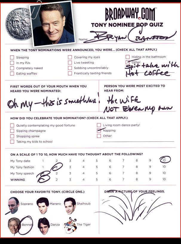 Tony Nominee Pop Quiz - Bryan Cranston