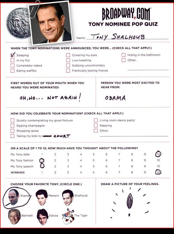 Tony Nominee Pop Quiz - Tony Shalhoub