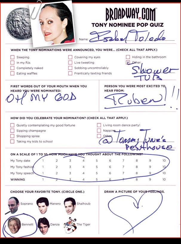 Tony Nominee Pop Quiz - Isabel Tolido