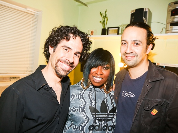 Hamilton - Backstage - 9/15Alex Lacamoire, Missy Elliott and Lin-Manuel Miranda