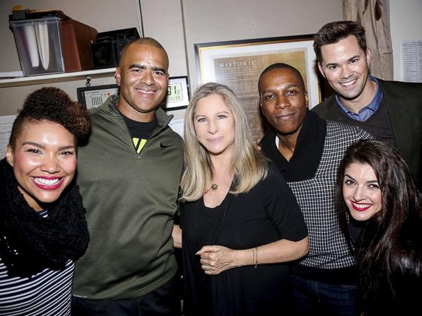 Hamilton - backstage - wide - 11/15 - Emmy Raver Lampman, Christopher Jackson, Barbra Streisand, Leslie Odom Jr, Carleigh Bettiol, Andrew Rannells