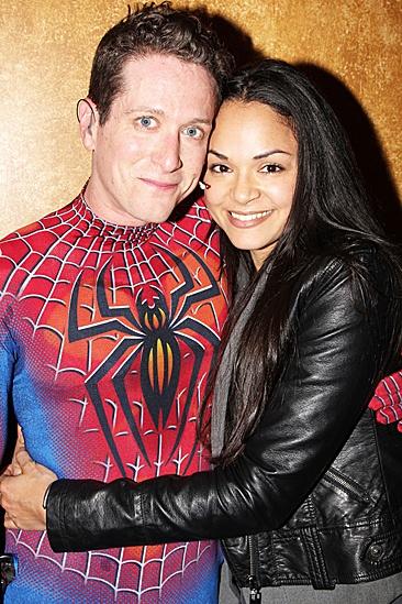 Karen Olivo Backstage at Spider-man - Matt Caplan – Karen Olivo In Arms