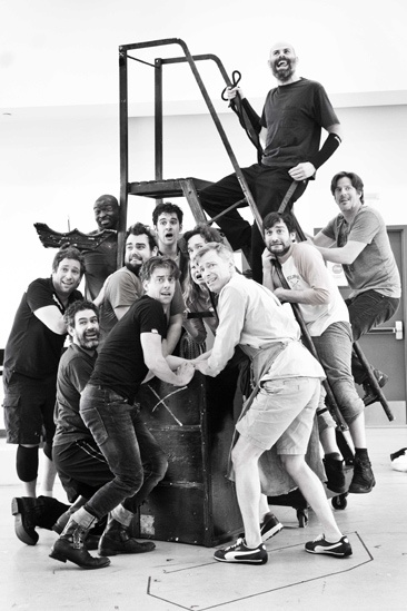 Peter and the Starcatcher Rehearsal – The Company on stairs
