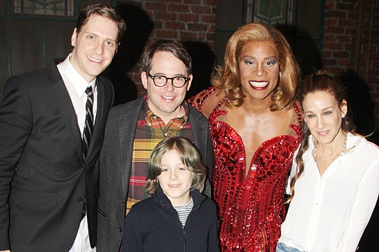Kinky Boots - Sarah Jessica Parker visits - OP - Andy Kelso - Matthew Broderick - James Wilkie Broderick - Billy Porter - Sarah Jessica Parker