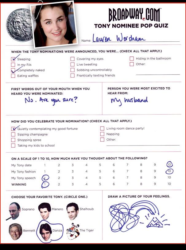 Tony Nominee Pop Quiz - Lauren Worsham
