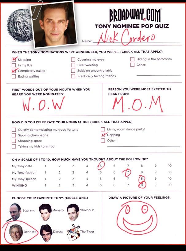 Tony Nominee Pop Quiz - Nick Cordero