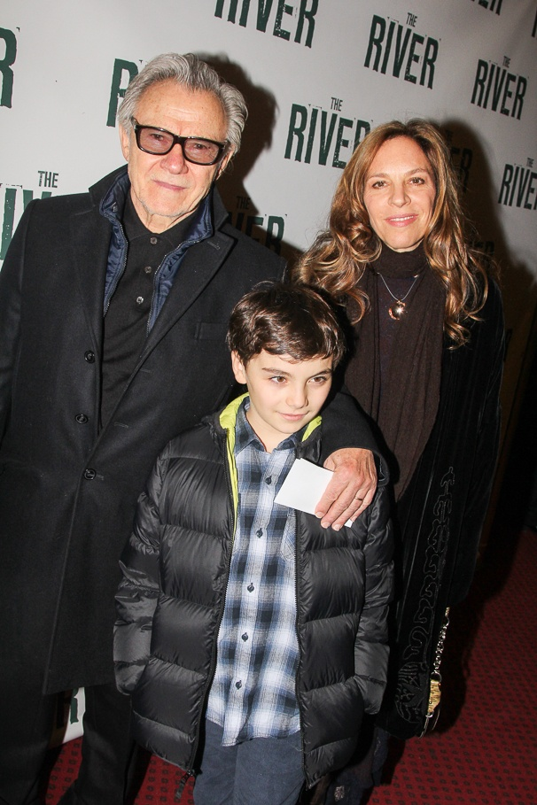 actor Harvey Keitel, wife Daphna Kastner and so Roman on the premiere of The River