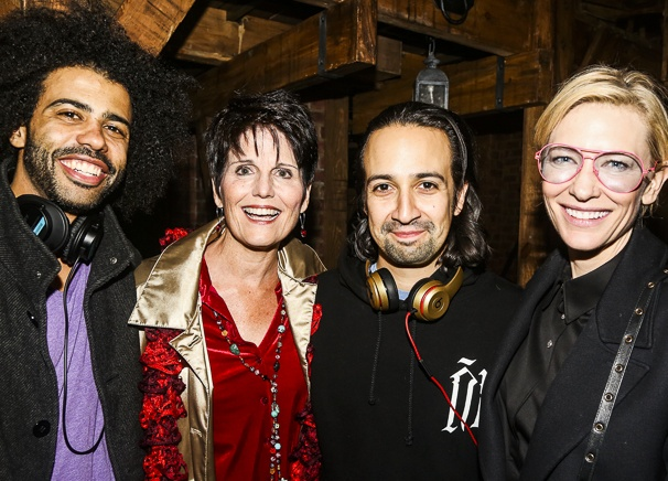 Hamilton - backstage - 9/15 - Daveed Diggs, Lucie Arnaz, Lin-Manuel Miranda and Cate Blanchett