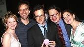 Urinetown revisited! Actress Megan Lawrence, director John Rando, librettist Greg Kotis, composer Mark Hollmann and actress Spencer Kayden at the opening of Pig Farm.