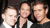 Newsies alum Andrew Keenan-Bolger and gossip maven Perez Hilton flank Hedwig's Neil Patrick Harris.