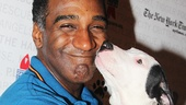 The Phantom of the Opera star Norm Lewis gets a big kiss. Three cheers to the Broadway fans who adopted pets—see you next year!