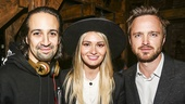 Hamilton - backstage - 9/15 - Lin-Manuel Miranda, Lauren Paul and Aaron Paul