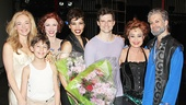 Stars Rachel Bay Jones (Catherine), Ashton Woerz (Theo), Charlotte d'Amboise (Fastrada), Ciara Renee (Leading Player), Kyle Dean Massey (Pippin), Annie Potts (Berthe) and Colin Cunliffe (on for Terrence Mann as Charles) take a group photo.