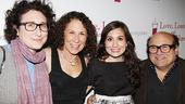 November 2009 cast of Love, Loss – Gracie DeVito - Rhea Perlman –Lucy DeVito – Danny DeVito