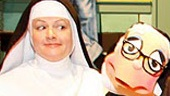 Jeanne Tinker as Sister Amnesia, with Sister Mary Annette, Bambi Jones as Sister Hubert and Bonnie Lee as Reverend Mother in Nunsense.