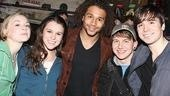 Spring Awakening cast members Emily Kinney, Alexandra Socha, Gerard Canonico and Matt Doyle pose for a backstage pic with Corbin Bleu.