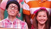 Hayley Podschun as Strawberry, Mykal Kilgore as Haryy, Andrew Cristi as Jake and Kimiko Glenn as Emily in Freckleface Strawberry.