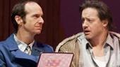 Denis O'Hare as Elling, Brendan Fraser as Kjell and Jennifer Coolidge as Johanne in Elling.