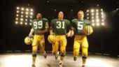 Robert Christopher Riley as Dave Robinson, Chris Sullivan as Jim Taylor and Bill Dawes as Paul Hornung in Lombardi.