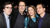 A couples shot of Mark Harris, husband Tony Kushner, IHO star Linda Emond and her husband, Matte Osian (a star of the Public's recent premiere of Compulsion).