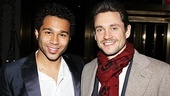 Godspell's newest Jesus, Corbin Bleu, is welcomed back to Broadway by MTC gala co-host (and Venus in Fur star) Hugh Dancy.