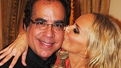 Backstage, Kristin Chenoweth plants a kiss on her director, Richard Jay-Alexander.