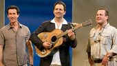 Aaron Lazar as Sam Carmichael, Graham Rowat as Harry Bright and Daniel Cooney as Bill Austin in Mamma Mia.
