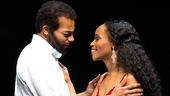Brandon Victor Dixon as Berry Gordy and Valisia LeKae as Diana Ross in Motown: The Musical.