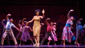Saycon Sengbloh as Martha Reeves and the cast of Motown: The Musical.