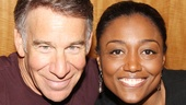 Composer Stephen Schwartz gives his Tony-winning Leading Player Patina Miller a squeeze.
