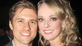 What a Catch! Aaron Tveit stops by to wish his former Catch Me If You Can co-star Angie Schworer a happy opening night.