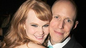Big Fish star Kate Baldwin gives book writer John August a squeeze.