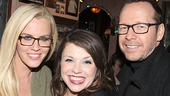 Mary Bridget Davies pauses for a photo with starry couple Jenny McCarthy and Donnie Wahlberg.