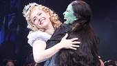 The two stars of Wicked share an embrace after the electrifying 10th anniversary performance.