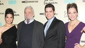 Stephen Sondheim gets close to his Merrily gang: TV's America Ferrera, Jeremy Jordan, who just starred in Sondheim's A Bed and a Chair: A New York Love Affair, and Cinderella headliner Laura Osnes.