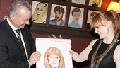 Sardi's head Max Klimavicius reveals the new portrait to very honored Big Fish star Kate Baldwin.