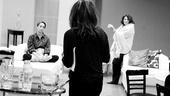 Other Desert Cities Rehearsal – Elizabeth Marvel – Stockard Channing – Linda Lavin (black and white)