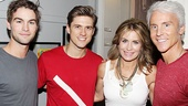 What a genetically gifted family! Chace Crawford and his parents, Dana and Chris, surround Aaron Tveit.