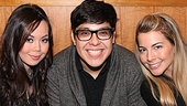 Let the games begin! Anna Maria Perez de Tagle, George Salazar and Morgan James get ready to face the autograph-hungry fans of Godspell.