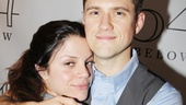 Vanessa Ferlito comes in close for a hug with her new Graceland co-star Aaron Tveit.