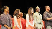 The cast of Violet and the Songs of Solomon gospel choir walk out to waves of applause and cheers from the audience at New York City Center.