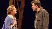 Cherry Jones as Amanda Wingfield and Zachary Quinto as Tom Wingfield in The Glass Menagerie.