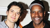 Double dose of handsome! Orlando Bloom welcomes Denzel Washington to the Richard Rodgers Theater after the September 7 performance.
