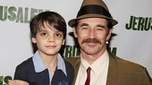 Mark Rylance grabs ahold of his onstage son, Aiden Eyrick.