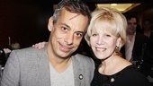 Best Actor in a Play nominee Joe Mantello leans in for a photo alongside his Normal Heart producer Daryl Roth.