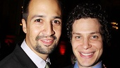 In the Heights reunion! Tony winner Lin-Manuel Miranda celebrates with his Heights director and post-show rap collaborator Tommy Kail.