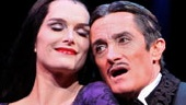 Brooke Shields as Morticia Addams and Roger Rees as Gomez Addams in The Addams Family.